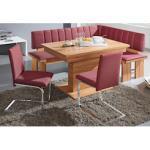 SCHÖSSWENDER Eckbankgruppe Falco, (Set, 4 tlg.), Eckbank umstellbar, Säulentisch mit Schiebeplattenfunktion 120(160) cm rosa Eckbankgruppen Tische
