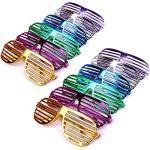Schramm® 12 Stück Partybrille metallic 6 Farben Partybrillen Bunt Gitterbrille Spaß Spass Brille Atzen Brillen Party Brille 12er Pack