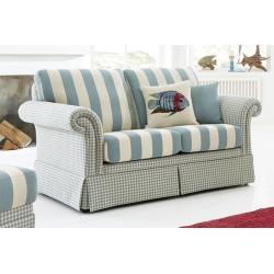 SCHRÖNO Sofa 2-Sitzer KAMPEN 153 x 90 cm Stoffbezug beige/grün-blau