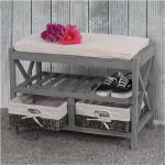 Schuhregal MCW-C48, Sitzbank Schuhablage, Shabby-Look Vintage 45x65x34cm ' grau