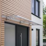 Schulte ExpressPlus 72H Style Plus Pultvordach 2000 x 900 mm, Polycarbonatglas klar, Edelstahlhalterung, Classic, mit Alu-Regenrinne - EP1121-20-21
