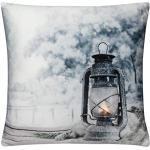 Schwar Textilien LED Kissen Dekokissen Leuchtkissen Kissen mit Füllung Fotodruck maritim allzeit (Home-Motiv 3)
