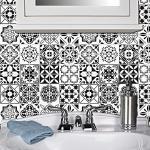 Schwarz und Weiß Marokkanische Fliesen Aufkleber, Wasserdicht und Anti-Öl Zu Hause dekorative Wandaufkleber, für Küche, Schlafzimmer, Wohnzimmer, Badezimmer Dekoration (10x10cm/64pcs)