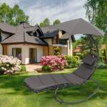 Schwebeliege mit Sonnenschirm,Relaxliege,Hängesessel,Schwebesessel 182x134x203cm Grau