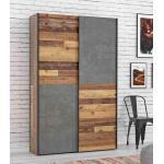 Schwebetürenschrank Mehrzweckschrank OZZULA Old Wood Vintage und Beton