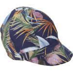 Seeberger Schiebermütze extra leichte Sommer Ballonmütze mit Palmendruck, blau gemustert