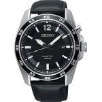 Seiko Kinetic Herren-Uhr Edelstahl mit Lederband SKA789P1