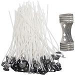 Senhai Kerzendochte mit 5 Zentrierhilfen, 12cm lange vorgewachste Baumwollkerndochte mit Metallhalterung, zur Kerzenherstellung, 200 Stück