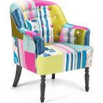 Sessel Blau Patchwork Polsterbezug Birkenholz Dekorative Rückenlehne und Füße Retro-Stil