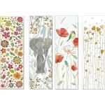 Set aus vier hochwertigen Lesezeichen, geprägtes Reliefpapier (original von Turnowsky, est. 1940) : Elefant, glitzernde Blüten, Meise, Herzen)