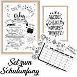 Set in Wunschfarben Zum Schulanfang, Einschulung, Meilensteintafel, Abc-Poster Und Stundenplan