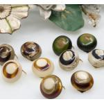Set Of 5 Pairs 60S/70S Clip On Earrings Layered Galalith, Lucite Different Colours - Vintage Button Retro Ohrclips Kitsch Pinup Girl Style