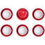 """Set von Cappuccino-Tasse mit Untertasse Loveramics """"Egg Red"""", 200 ml, 6 Stk."""