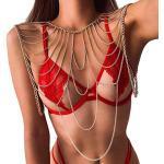 Sethain Boho Geschichtet Körperkette Gold Funkelnd Bikini Schulter Ketten Sandstrand Multilayer Körper Schmuckzubehör für Frauen und Mädchen