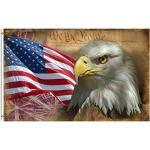 shinesnow USA Vintage American Flagge Bald Eagle 3x 5Fuß Flagge, Polyester doppelt genäht 4. Juli Memorial Unabhängigkeit Tag mit Tüllen Messing 3x 5ft Flagge für Outdoor Innen Decor 3x5 Ft Multi1