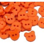 SiAura Material - 100 Stück Acryl Knöpfe Bären 11 mm, orange, 2 Löcher I Zum Nähen, Basteln und Dekorieren