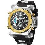 SIBOSUN Herren Digital Sport Uhren - Outdoor Armbanduhr mit Wecker Chronograph Uhr LED Licht Große Anzeige Digitaluhren für Herren Militärische Uhren Armband Großes Gesicht Digitale Sport-Uhr Gold