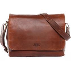 SID & VAIN Messenger Bag »SPENCER XL«, Umhängetasche Laptoptasche 15 Zoll Herren echt Leder Vintage braun