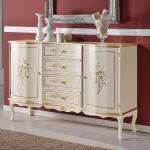 Sideboard in Weiß und Goldfarben 90 cm hoch