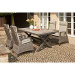 SIENA GARDEN Corido / Sincro Sitzgruppe charcoal, Alu / Gardino®-Geflecht, 4 Diningsessel, Ausziehtisch 205/265x103cm grau