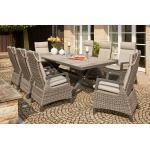 SIENA GARDEN Corido / Sincro Sitzgruppe charcoal, Alu / Gardino®-Geflecht, 8 Diningsessel, Ausziehtisch 205/265x103cm grau