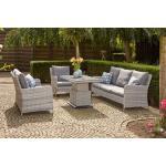 SIENA GARDEN Soria Loungeset ice grey, Alu / Gardino®-Geflecht, Sessel + 2er Sofa + 3er Sofa, stufenloser Lifttisch 130x75x47-71cm weiß/creme