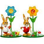 SIKORA Osterhase »OD11 Holz Osterhasen Figuren im Ostergarten mit farbenfrohen Frühlings Blumen H: 13 cm«, Osterhasen 2er Set mit Osterglocken