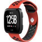 Silikonband Sport für die Fitbit Versa 2 / Lite - Rot / Schwarz