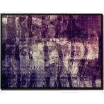 Sinus Art Leinwandbild »105x75cm Leinwandbild Petrol Abstrakt Acrylgemälde mit Pinsel«, Mauve