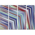 Sinus Art Leinwandbild »Abstraktes Bild Linien in rot, weiß, blau, gelb - Leinwandbild«, 4x 90x30cm