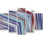 Sinus Art Leinwandbild »Abstraktes Bild Linien in rot, weiß, blau, gelb - Leinwandbild«, 5 teilig Gesamt150x100cm