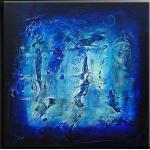 Sinus Art Leinwandbild »mosaico 5 - Acrylgemälde in blau und schwarz«