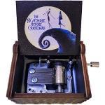 SIQI The Nightmare Before Christmas Holz-Spieluhr mit 18 Noten, Handkurbel, Mini-Spieluhr, Weihnachten, Geburtstag, Sammlungen, Heimdekoration, spielt Halloween (Farbmalerei)