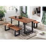 SIT Bank Tables&Tops, aus massiver Akazie, mit schwarzem Metallgestell beige Holzbänke Sitzbänke Stühle