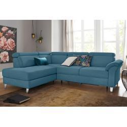 sit&more Ecksofa, inklusive Kopfteilverstellung und Federkern, frei im Raum stellbar, blau, Ohne Bettfunktion, azur