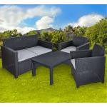 Sitzgarnitur Gartengarnitur Zweisitzer Balkongarnitur Balkonset Allibert 201319 Lounge Merano Rattanoptik Kunststoff