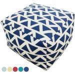 Sitzhocker Sitzwürfel 55x37x55 cm Fußhocker Bodenkissen Design Pouf Kelim Style Maja 5 Farben : blau - navi blue 4251633125202
