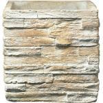 SK Latina Übertopf Stonewall (21 x 21 x 21 cm, Steinbeige, Optik: Strukturiert)