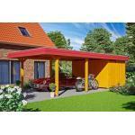 SKAN HOLZ Carport Wendland 409 x 870 cm mit Abstellraum, mit EPDM-Dach, rote Blende, eiche hell (GLO784204956)