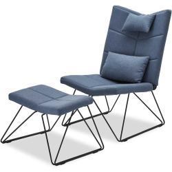 Skandi Design Sessel in Blau Webstoff Fußhocker (2-teilig)