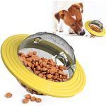 SKXZK Hunde Katzen Snackball Futterball,Hundefutter Ball, IQ Trainingsball Lernspielzeug,Multifunktionales Frisbee-Puzzlespielzeug,Slow Eating Ball für Hunde und Katzen (Yellow)