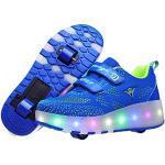 Reduzierte Blaue Skater LED Schuhe & Blink Schuhe mit Knopf Leuchtend für Partys für Kinder