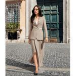 Sandfarbene SLY 010 Maxi Business-Kostüme für Damen Größe M