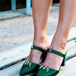 Smaragdgrün Hochzeitsschuhe, Block Ferse Kristall Satin Handgemachte Brautjungfer Schuhe