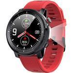 Smart Watch, 1,3-Zoll-Smartwatch mit rundem Touchscreen, Bluetooth 5.0-Fitness-Tracker mit Herzfrequenzmesser, langer Standby IP68 wasserdichte Uhr für Männer und Frauen für iOS Android Handys (Rot)