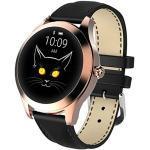 Smart Watch KW10,Runder Touchscreen IP68 wasserdichte Smartwatch für Frauen, Fitness Tracker mit Herzfrequenz- und Schlaf-Pedometer,Armband Für IOS/Android (Black Belt#2)