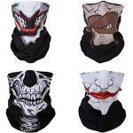 SMEHCF 4 Multifunktionstuch Gesichtsmaske Motorradmaske Sportmaske Sturmmaske Maske Halsmanschette Schal Bandana für Damen Herren Bart Clown Joker Vampir Skelett Schädel