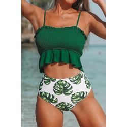 Smaragdgrüne Cupshe High Waist Bikinis mit Monstera-Motiv Gesmokte