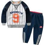 Snyemio Trainingsanzug Jungen Jogginganzug Kapuzenpullover Anzug Sweatshirt & Hosen Set Sportanzug Kleidungssätze 2-7 Jahre, Weiß, 116-122 (Etikett 120)