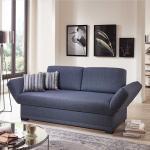 Sofa Bett in Blau Webstoff Made in Germany
